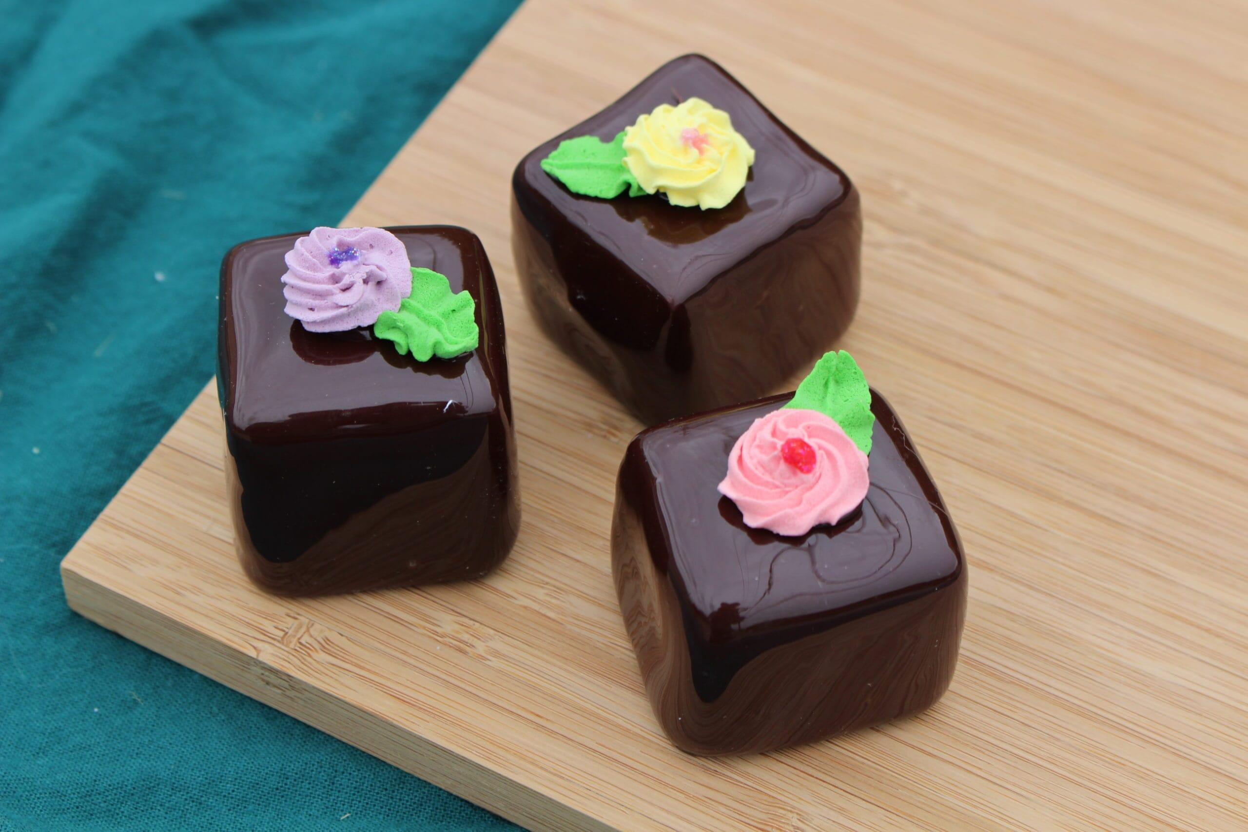 Fake Large Chocolate Petit Fours (Set of 3)