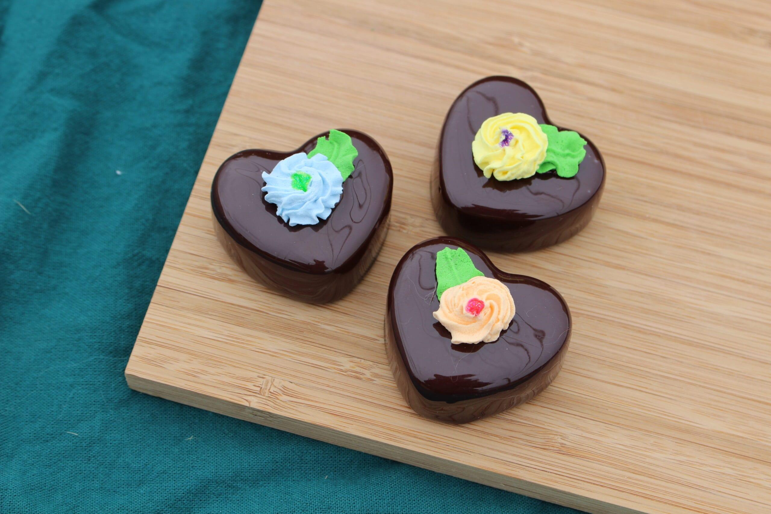 Fake Chocolate Heart Petit Fours (Set of 3)