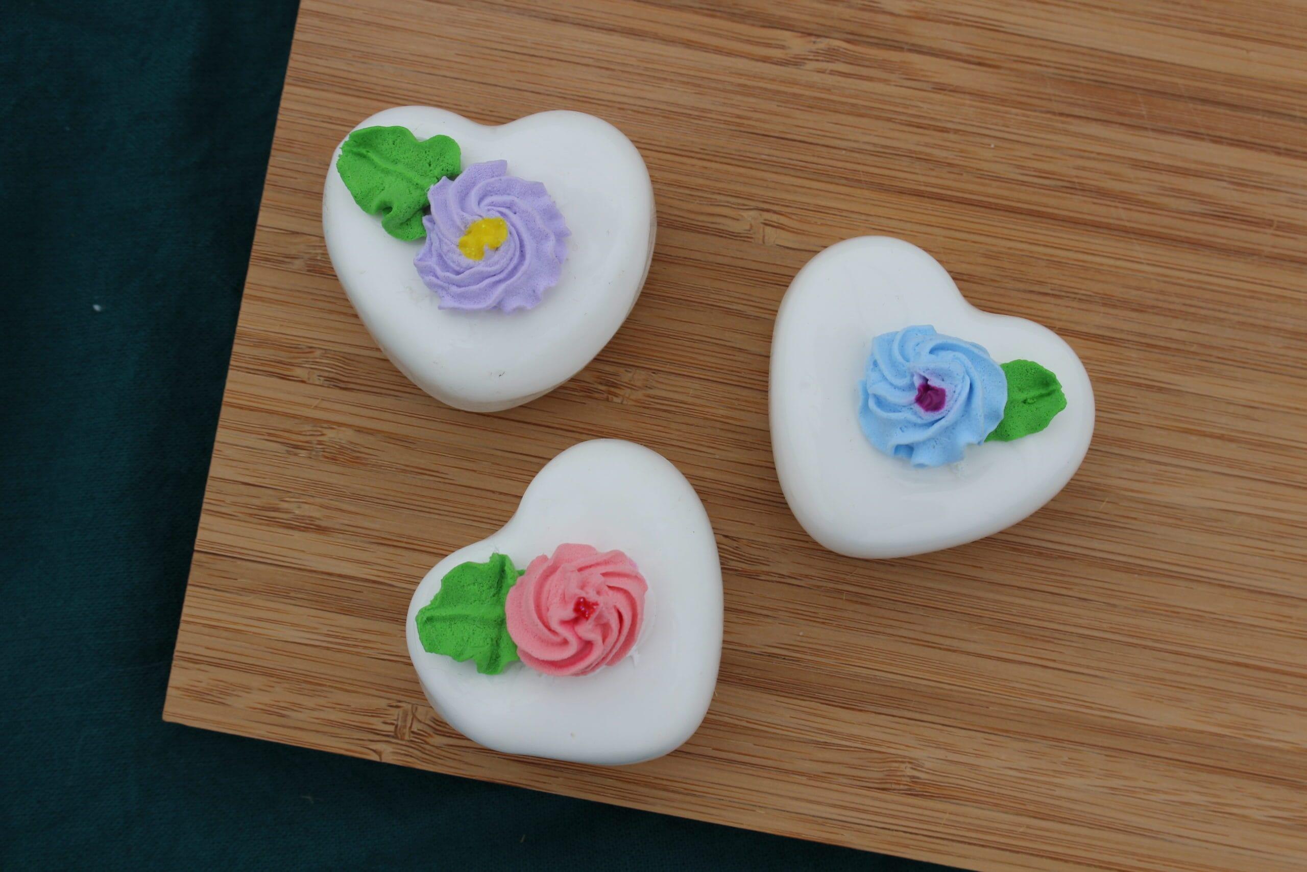 Fake Vanilla Heart Petit Fours (Set of 3)
