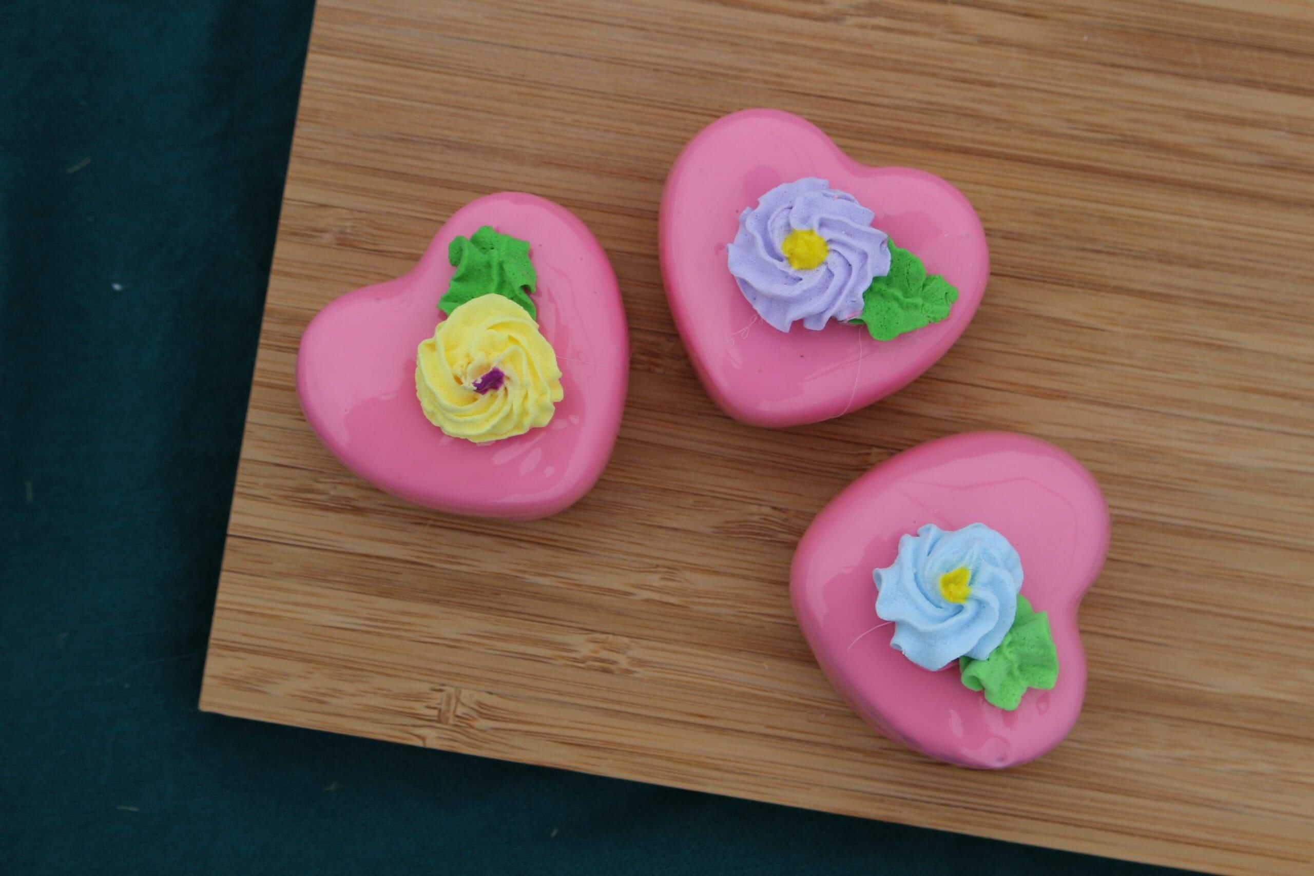 Fake Strawberry Heart Petit Fours (Set of 3)