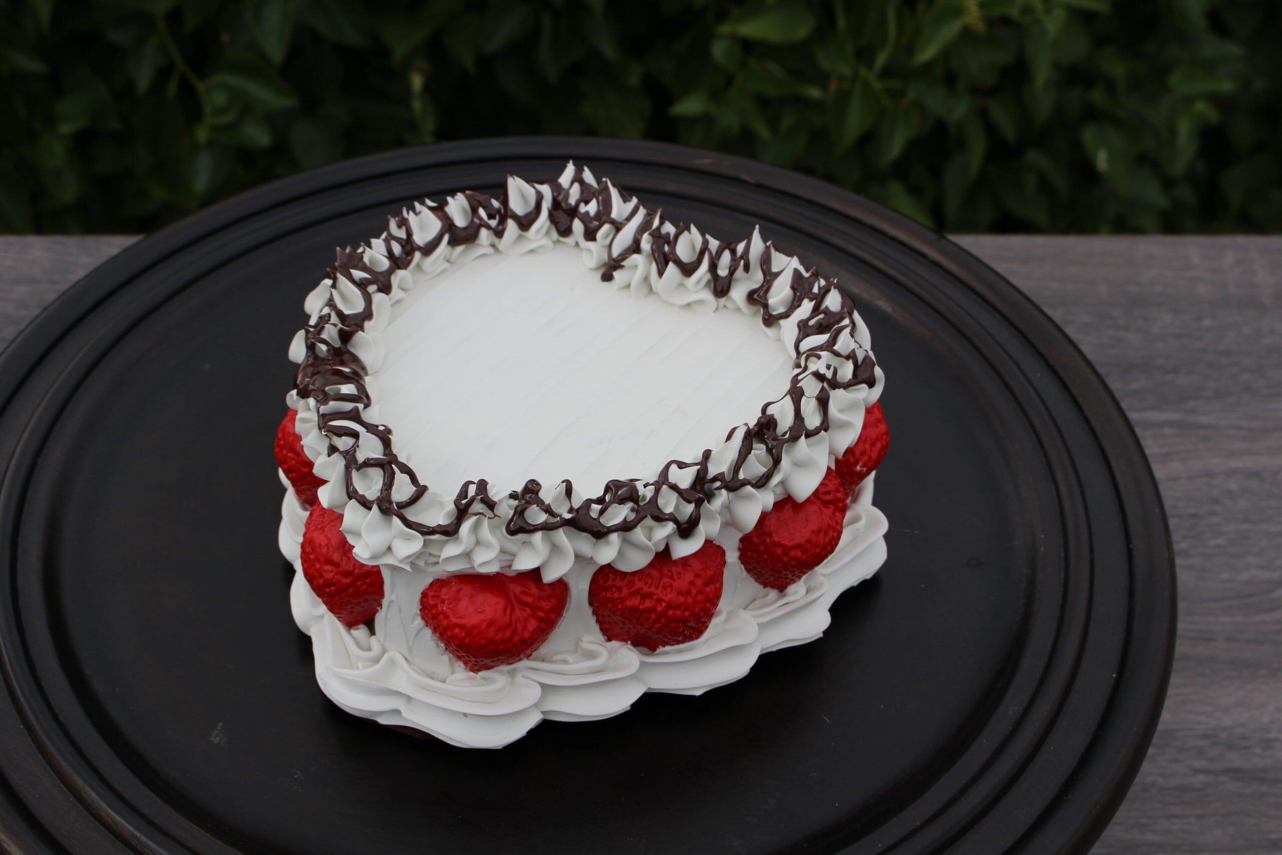 Fake Vanilla Frosted Heart Cake