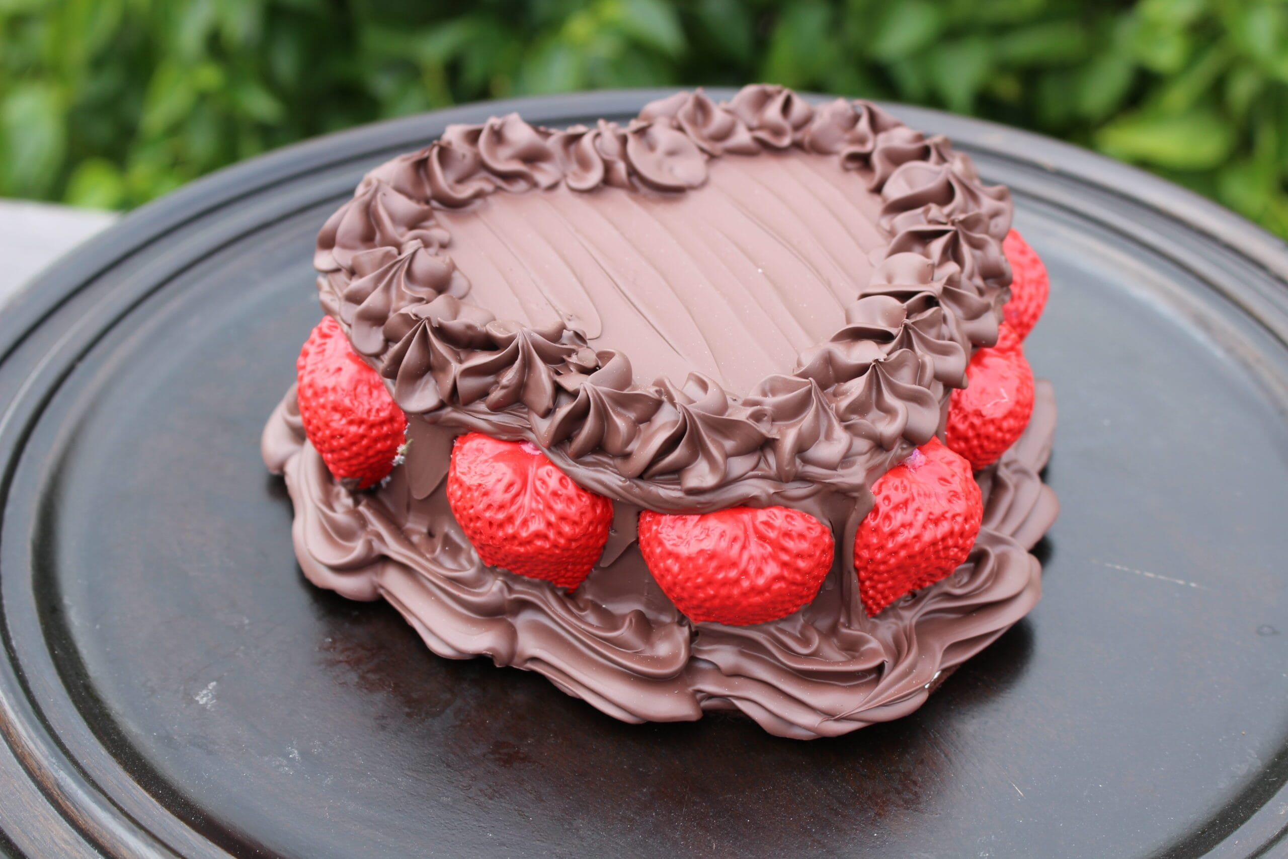 Fake Chocolate Frosted Heart Cake