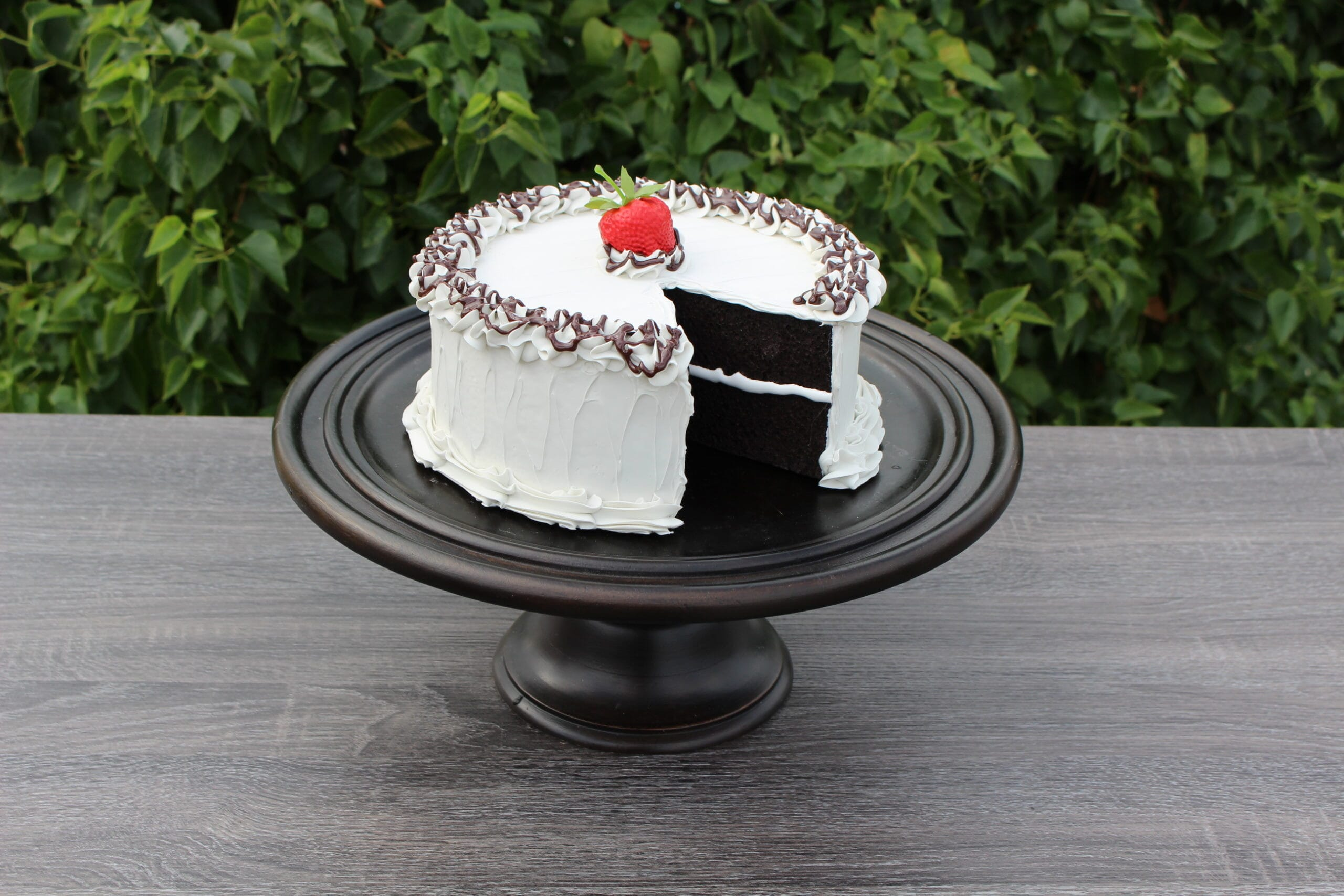 Fake Large Vanilla Frosted Cake with Slice Removed