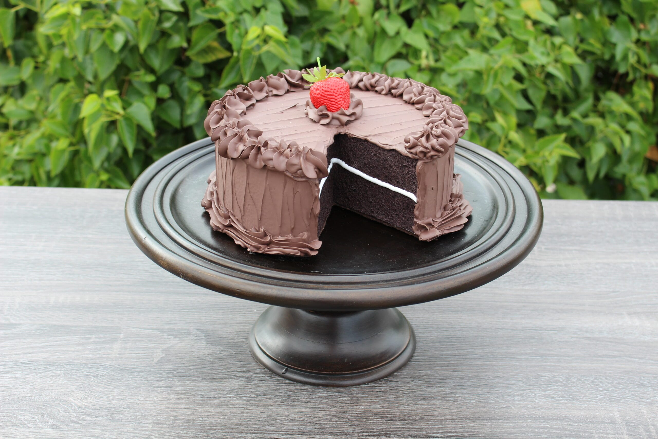 Fake Large Chocolate Frosted Cake with Slice Removed