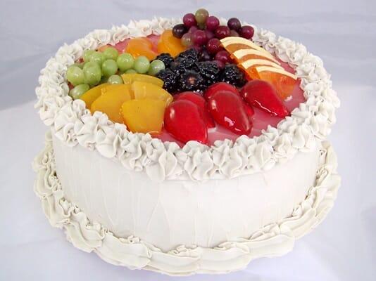 Fake Large Vanilla Frosted Cake with Fruit