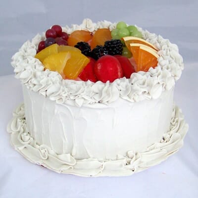 Fake Small Vanilla Frosted Cake with Fruit