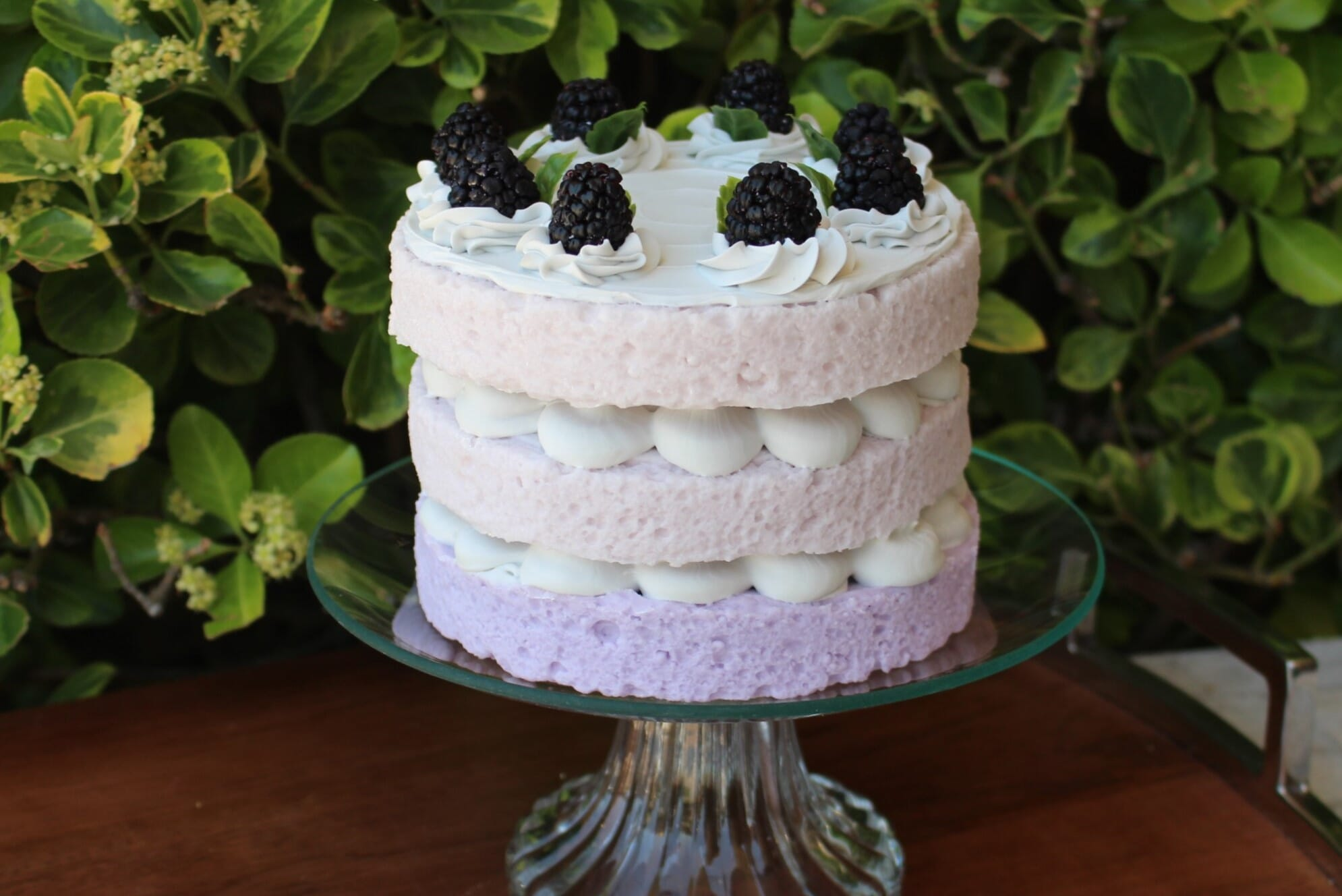 Fake Vanilla Frosted Layer Cake Topped with Black Berries
