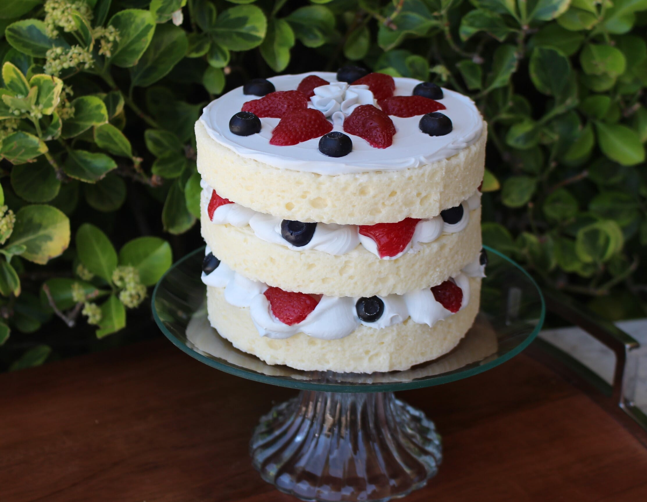 Fake Vanilla Frosted Layer Cake with Berries