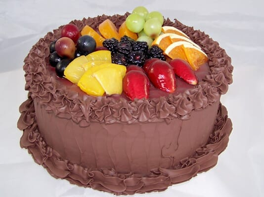 Fake Large Chocolate Frosted Cake with Fruit