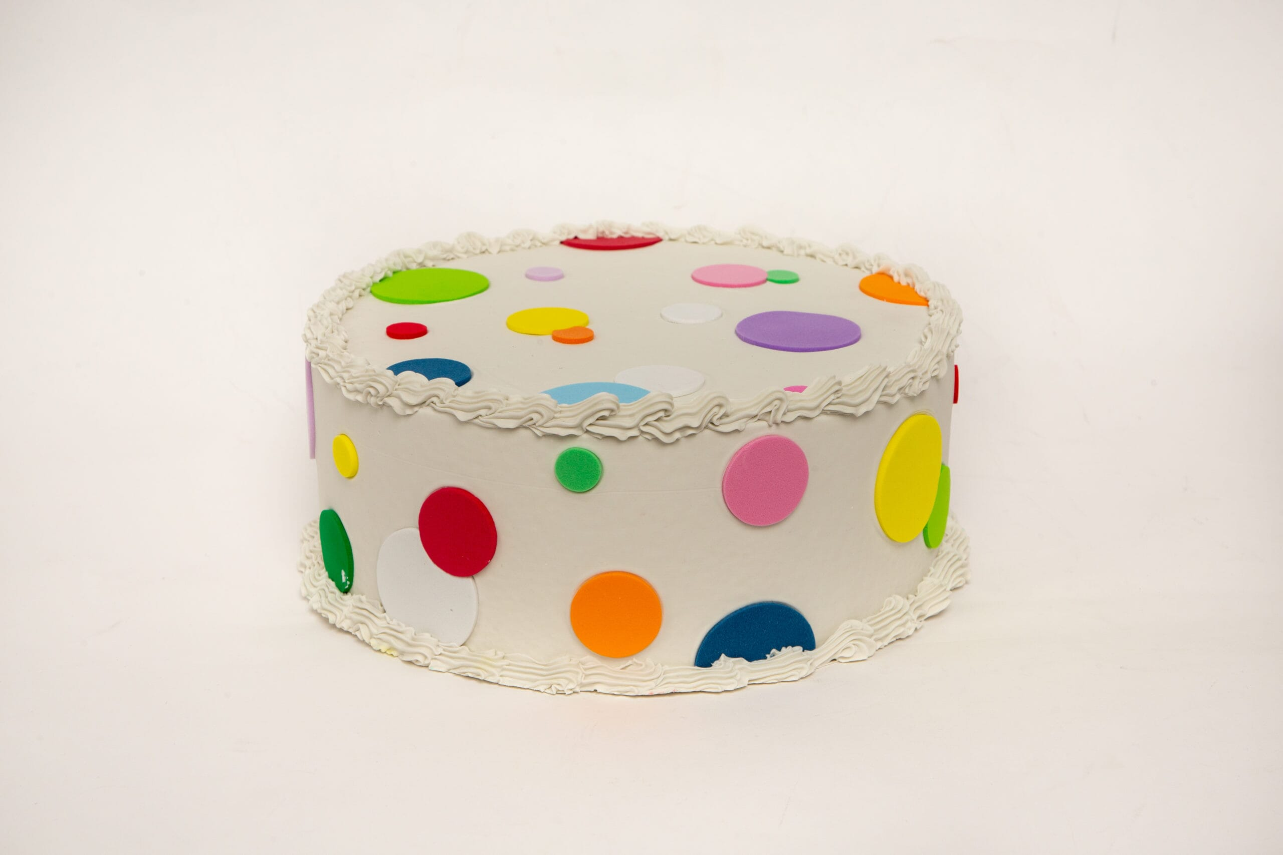 Fake Large Vanilla Frosted Cake with Multi-Color Polka Dots