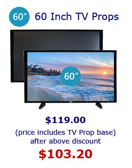 "60 Prop TVs for Home Staging and Furniture Stores.  60""' TV Props are wall mountable."