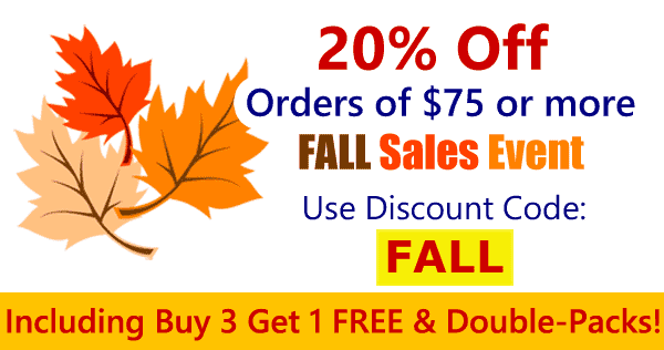 20% Off Your Order OF $75 OR MORE Use Coupon Code FALL