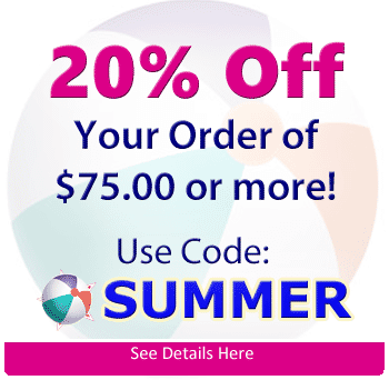 20% Order On Your Order of $75 or more Use Code SUMMER