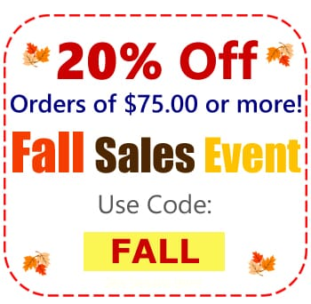20% Order On Your Order of $75 or more Use Code FALL