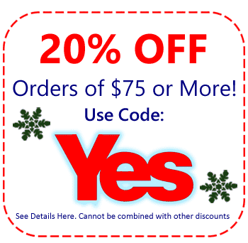 20% Order On Your Order of $75 or more Use Code YES