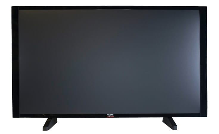 "60"" Flat Screen TV Prop in Gloss Black on Matte Black with Optional Base"