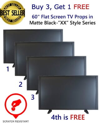 "Buy 3 Get 1 FREE (4-Pack) of 60"" Flat Screen TV Props in Matte Black"
