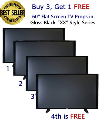 "Buy 3 Get 1 FREE (4-Pack) of 60"" Flat Screen TV Props in Gloss Black on Matte Black"