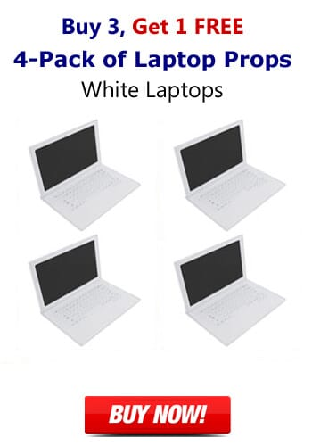 4-Pack of 17 Inch Matte White Fake Laptop Props-Buy 3 Get 1 FREE Prop Laptops Package