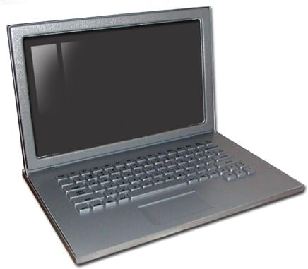 "Laptop Prop in Silver - 17"" Matte Silver Fake Laptop Computer Prop"