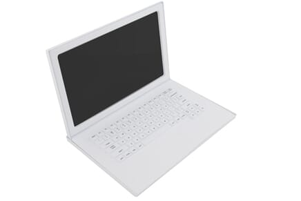 "Laptop Prop in White - 17"" Matte White Fake Laptop Computer Prop"